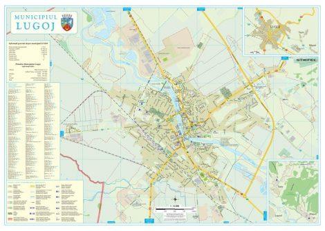 Harta Municipiului Lugoj TM (print digital) - sipci de lemn