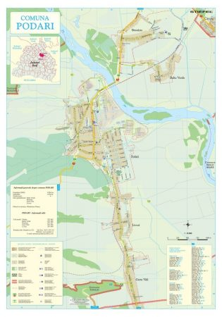 Harta Comunei Podari DJ - șipci de lemn