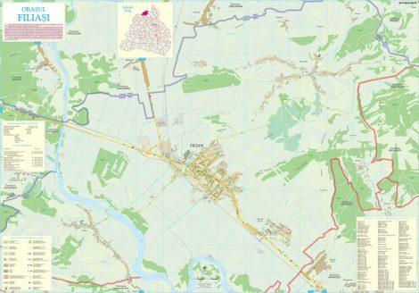 Harta Orasului Filiasi DJ - sipci de lemn