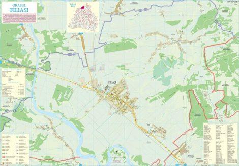 Harta Orașului Filiași DJ - șipci de lemn