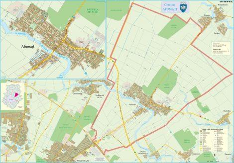 Harta Comunei Afumați IF - șipci de lemn