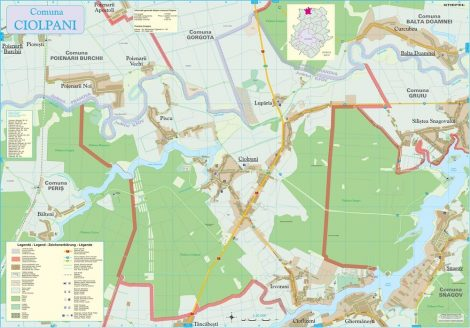 Harta Comunei Ciolpani IF - șipci de lemn
