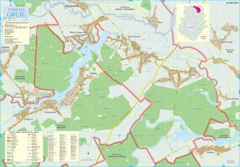 Harta Comunei Gruiu IF - șipci de lemn