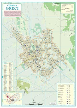 Harta Comunei Greci TL - șipci de lemn