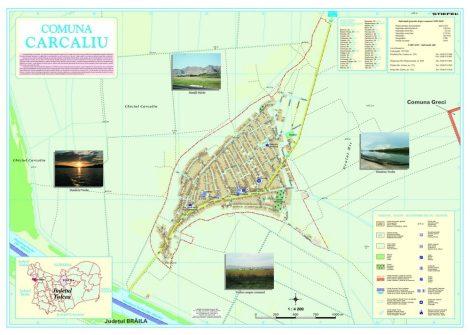 Harta Comunei Carcaliu TL - șipci de lemn
