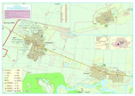 Harta Comunei Vladimirescu AR - sipci de lemn