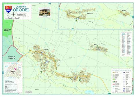 Harta Comunei Orodel DJ - șipci de lemn