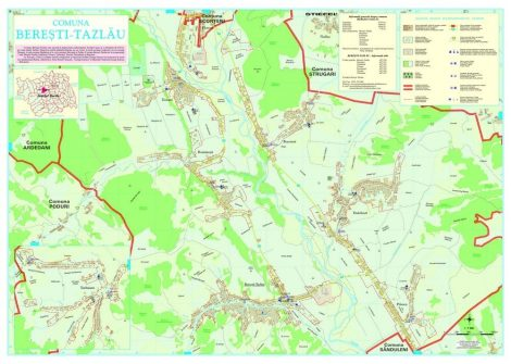 Harta Comunei Beresti-Tazlau BC - sipci de lemn