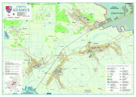 Harta Comunei Adămuș MS - șipci de lemn
