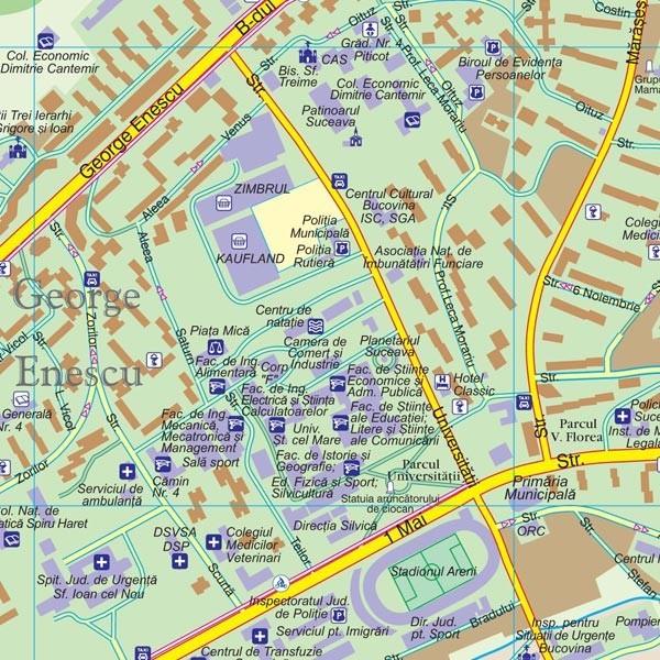 Harta Municipiului Suceava Sv Print Digital Sipci De Lemn