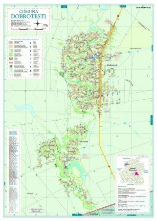 Harta Comunei Dobrotești TR - șipci de lemn