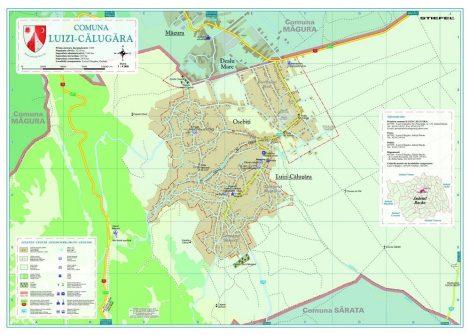 Harta Comunei Luizi-Călugăra BC - șipci de lemn