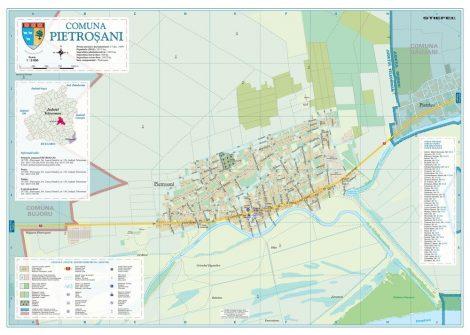 Harta Comunei Pietroșani TR - șipci de lemn