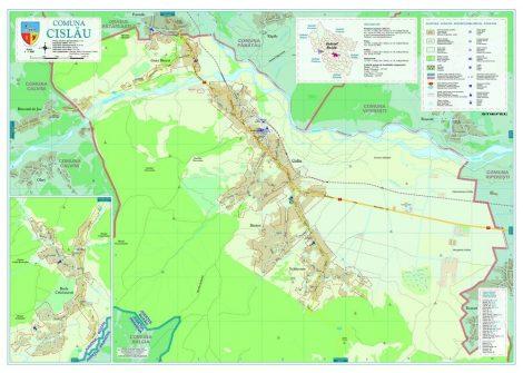 Harta Comunei Cislău BC - șipci de lemn