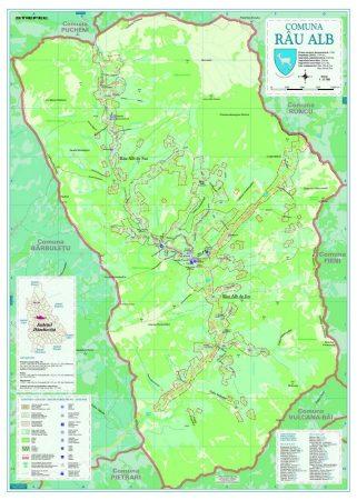 Harta Comunei  - Rau Alb DB șipci de lemn