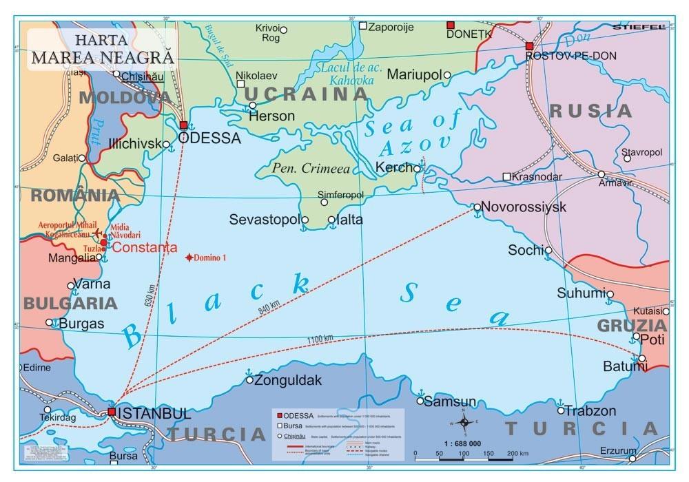 Harta Marea Neagra 100x70 Cm Stiefel Romania