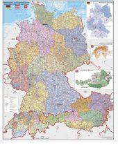 Harta Germania, Austria si Elvetia cu coduri postale - sipci de metal