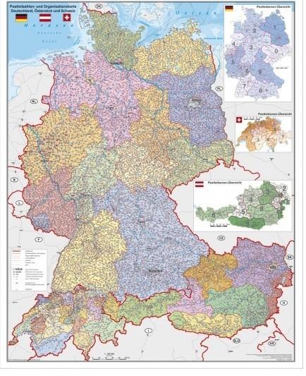 Harta Germania Austria Si Elvetia Cu Coduri Postale Sipci De