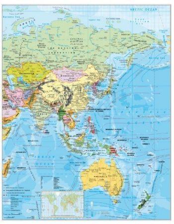 Harta Asia Politică șipci metal