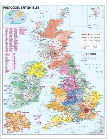 Harta Marea Britanie coduri poștale