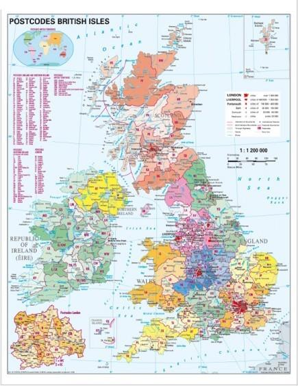Harta Marea Britanie Coduri Postale 100 X 140 Cm Stiefel Romania