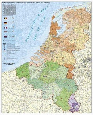 Harta Statelor Benelux cu coduri postale
