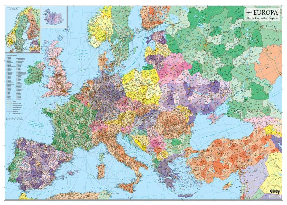 Harta Europa Coduri Postale 122x88 Cm Sipci Plastic Stiefel Romania