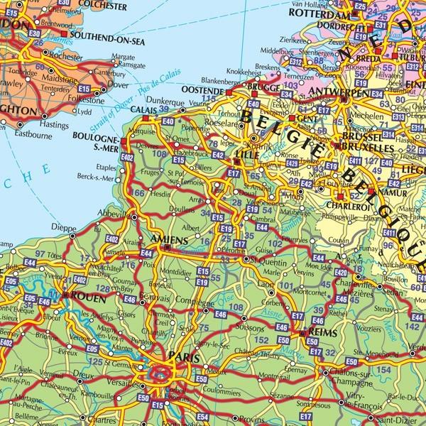 Harta De Perete Europa Rutiera 140x100 Cm Stiefel Romania