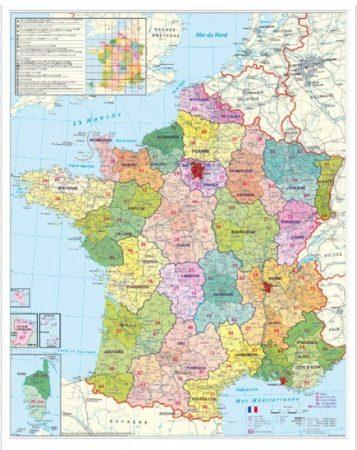 Harta Franta cu coduri postale 100 x 140 cm