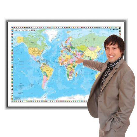 Harta Lumii în ramă de aluminiu 100x70 cm foam