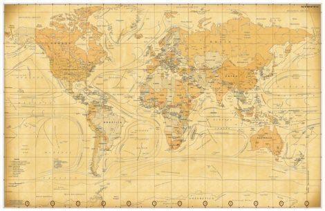 Harta de perete a Lumii Vintage 140x100 cm