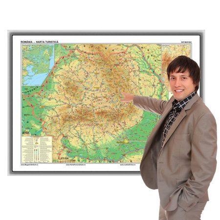 Harta turistică a României în ramă de aluminiu, magnetică