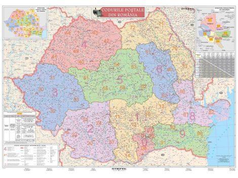 Harta de perete Romania cu coduri postale 100x70 cm sipci plastic
