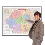 Harta Romania cu coduri postale in rama de aluminiu 100x70 cm foam