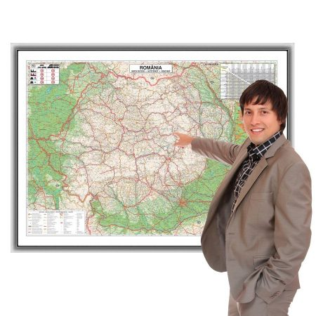 Harta rutieră a României în ramă de aluminiu 100x70 magnetică