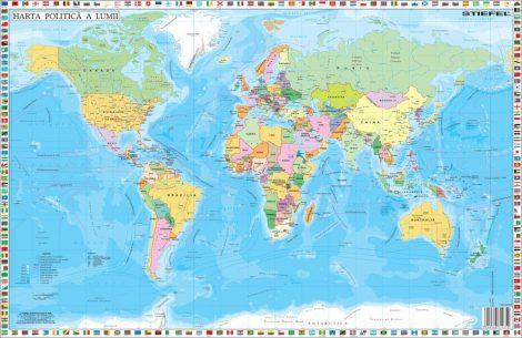 Hartă de birou - Statele Lumii cu steaguri