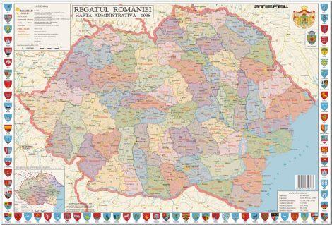 Hartă de birou România Interbelică