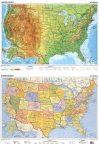 Harta SUA fizico-geografica / administrativa (limba engleza)