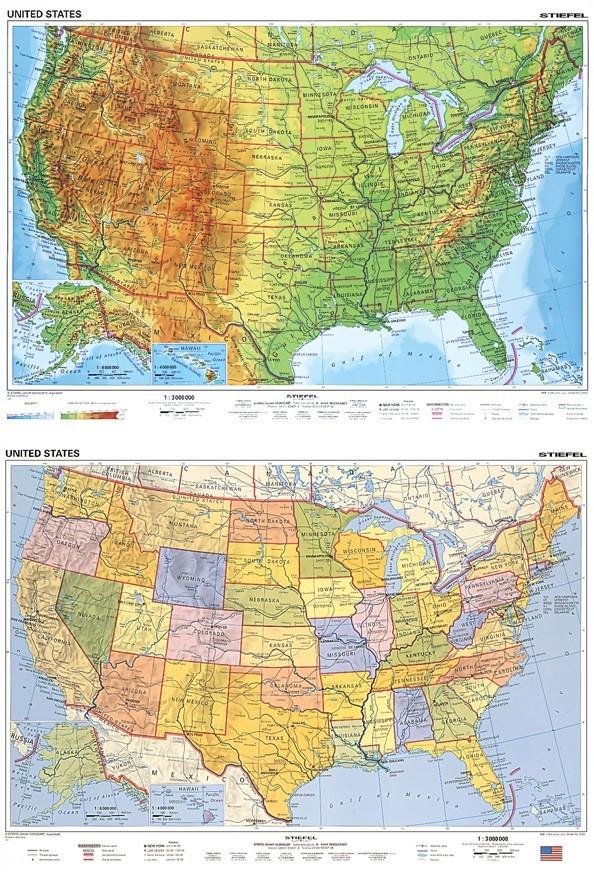 Harta Sua Fizico Geografica Administrativa Limba Engleza