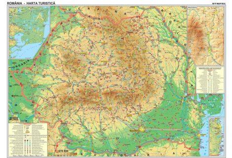 Harta de perete Romania Turistica 100x70 cm sipci plastic
