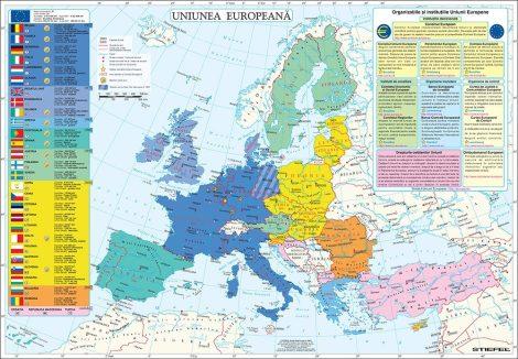 Harta de perete Uniunea Europeană 100x70 cm șipci lemn