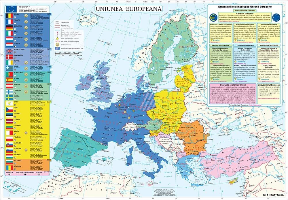 Harta De Perete Uniunea Europeana 100x70 Cm Sipci Lemn Stiefel