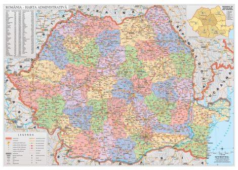 Hartă de perete România Administrativă -  160 x 120 cm șipci lemn