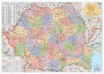 Harta de perete Romania Administrativa 122x88 cm sipci metal