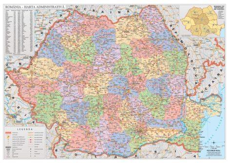 Hartă de perete România Administrativă 122x88 cm șipci metal