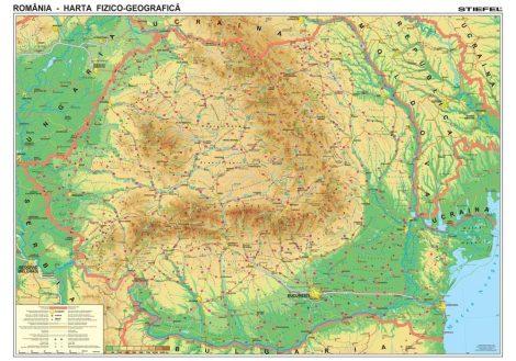Hartă de perete România Fizico-Geografică 100x70 cm, șipci plastic