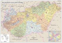Harta Ungaria Coduri Postale / Administrativ-Rutiera DUO 140x100 cm sipci lemn