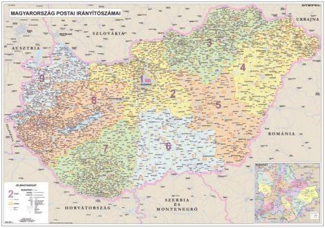 Harta Ungaria Coduri Poștale / Administrativ-Rutieră DUO