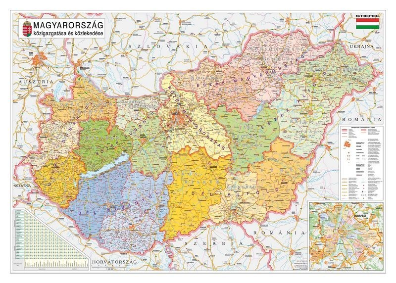 Harta Ungaria Coduri Postale Administrativ Rutiera Duo 140x100