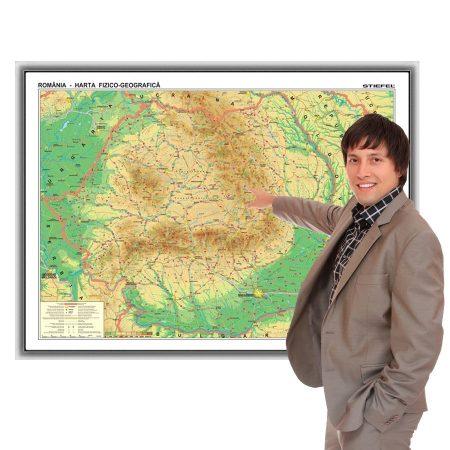 Harta fizică a României în ramă de aluminiu 100x70 cm, foam